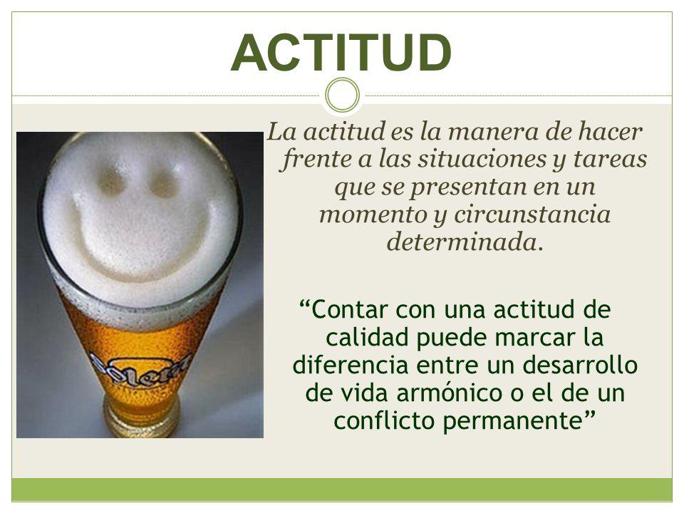 ACTITUD La actitud es la manera de hacer frente a las situaciones y tareas que se presentan en un momento y circunstancia determinada. Contar con una
