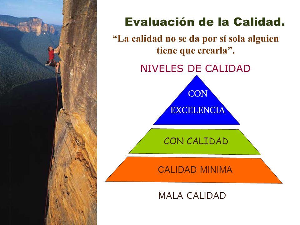 La calidad no se da por sí sola alguien tiene que crearla. NIVELES DE CALIDAD MALA CALIDAD CON CALIDAD CON EXCELENCIA Evaluación de la Calidad. CALIDA
