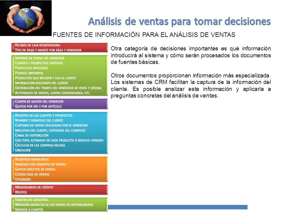 PUNTOS DE ACUMULACIÓN DE INFORMACIÓN DE LAS VENTAS La tercera decisión importante es qué variables servirán como elementos acumulables.