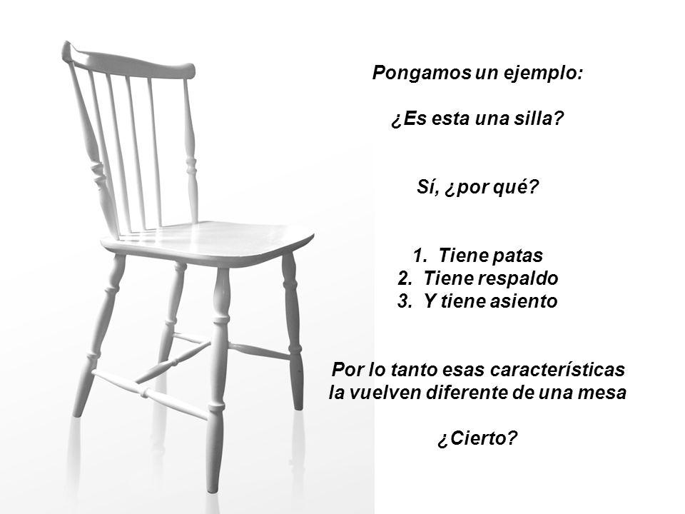 Pongamos un ejemplo: ¿Es esta una silla? Sí, ¿por qué? 1.Tiene patas 2.Tiene respaldo 3.Y tiene asiento Por lo tanto esas características la vuelven d