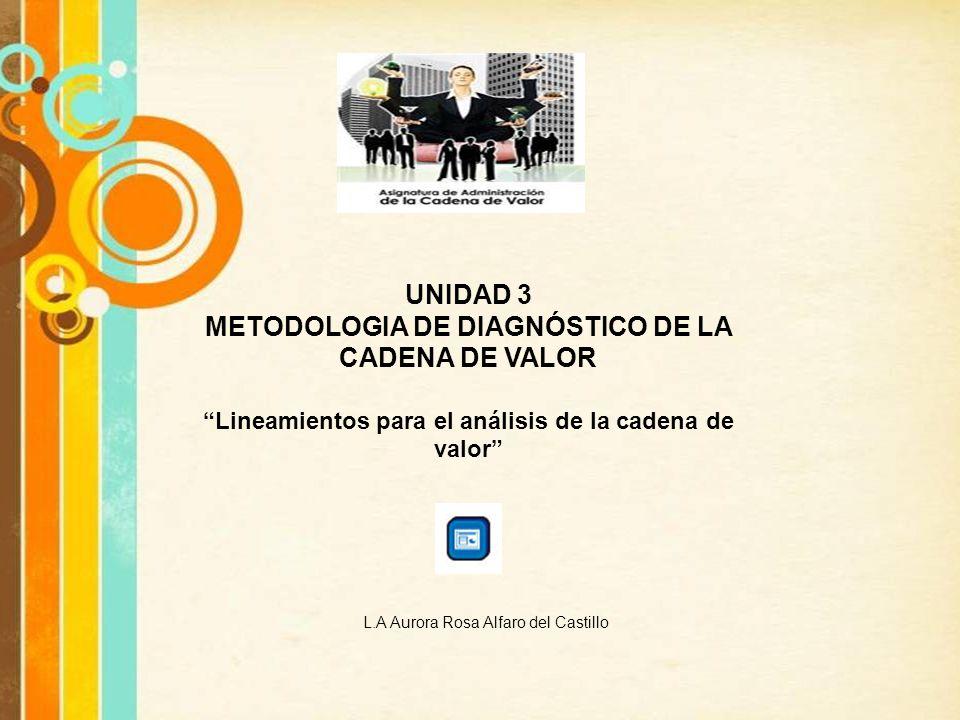 UNIDAD 3 METODOLOGIA DE DIAGNÓSTICO DE LA CADENA DE VALOR L.A Aurora Rosa Alfaro del Castillo Lineamientos para el análisis de la cadena de valor