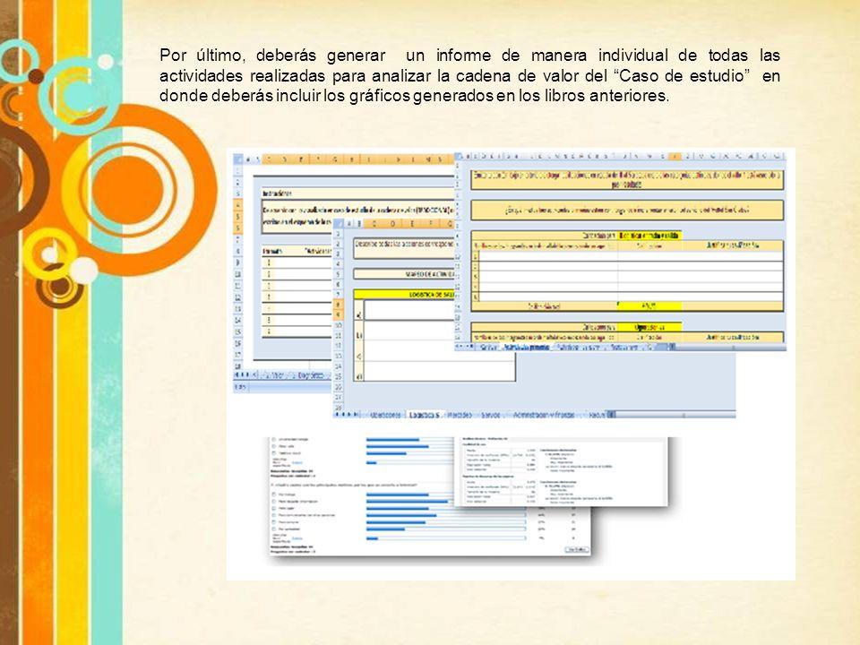 Por último, deberás generar un informe de manera individual de todas las actividades realizadas para analizar la cadena de valor del Caso de estudio e