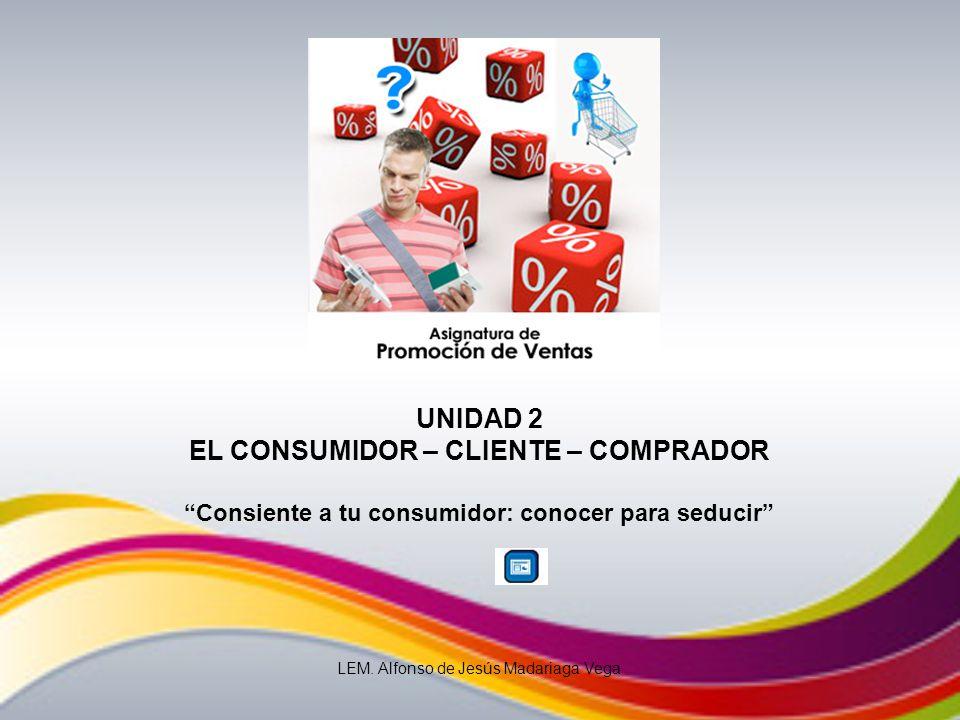 UNIDAD 2 EL CONSUMIDOR – CLIENTE – COMPRADOR Consiente a tu consumidor: conocer para seducir LEM. Alfonso de Jesús Madariaga Vega