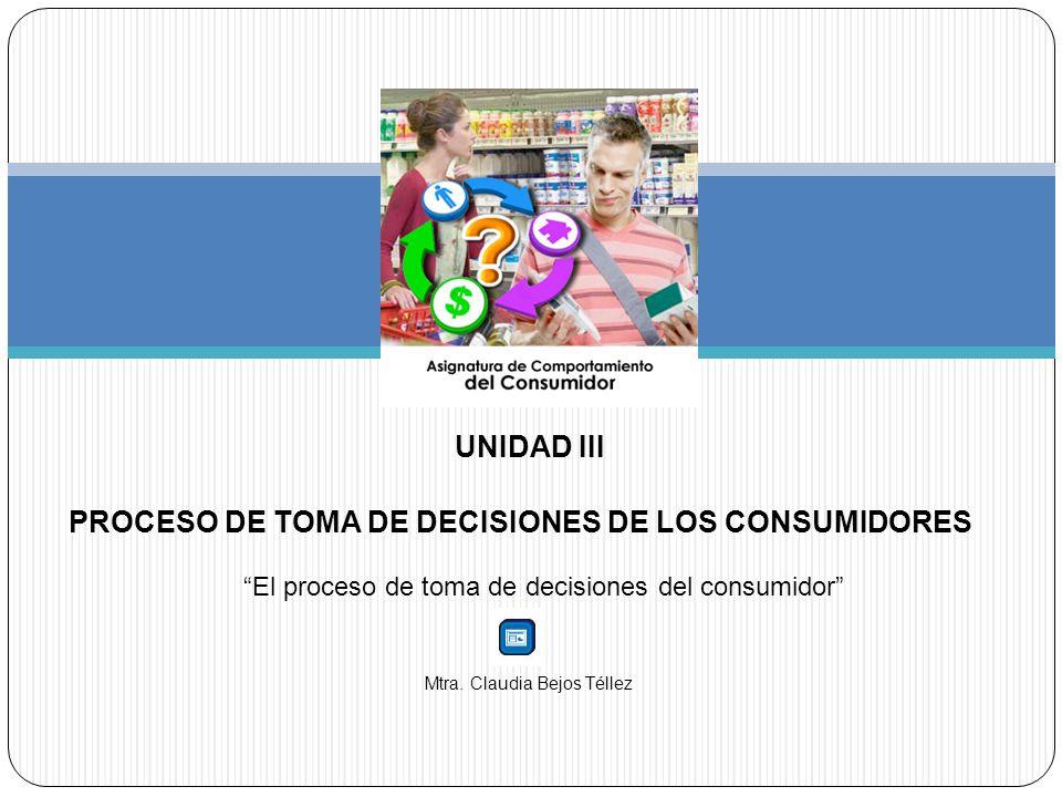 UNIDAD III PROCESO DE TOMA DE DECISIONES DE LOS CONSUMIDORES El proceso de toma de decisiones del consumidor Mtra. Claudia Bejos Téllez