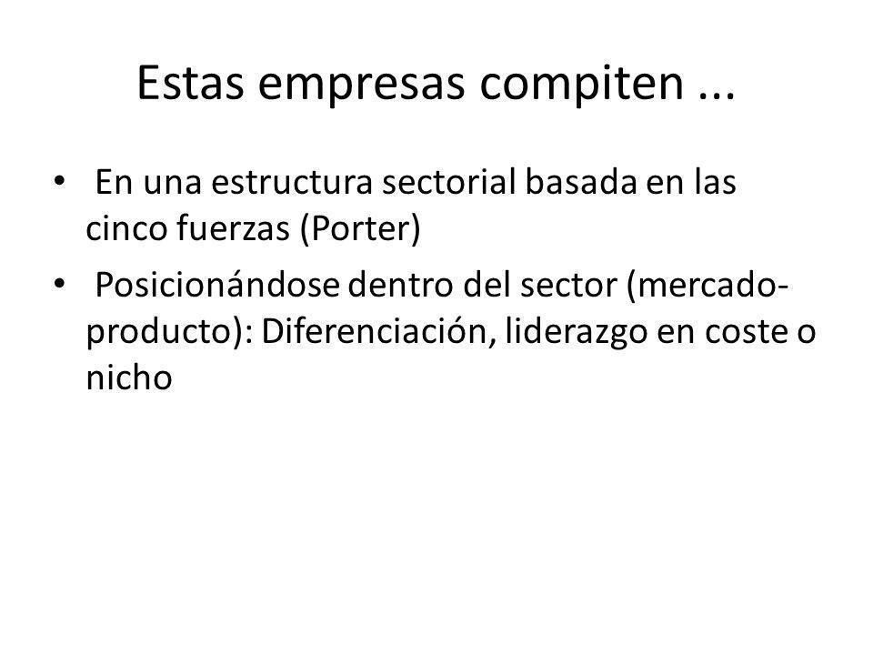 Estas empresas compiten... En una estructura sectorial basada en las cinco fuerzas (Porter) Posicionándose dentro del sector (mercado- producto): Dife