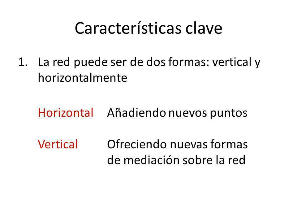 Características clave 1.La red puede ser de dos formas: vertical y horizontalmente Horizontal Añadiendo nuevos puntos VerticalOfreciendo nuevas formas