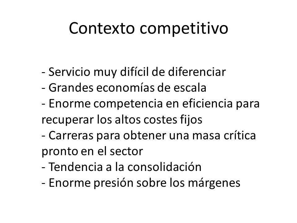 Contexto competitivo - Servicio muy difícil de diferenciar - Grandes economías de escala - Enorme competencia en eficiencia para recuperar los altos c