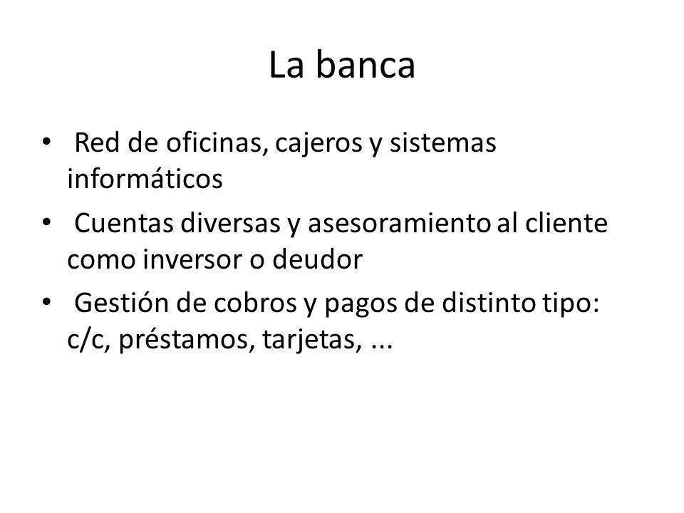 La banca Red de oficinas, cajeros y sistemas informáticos Cuentas diversas y asesoramiento al cliente como inversor o deudor Gestión de cobros y pagos