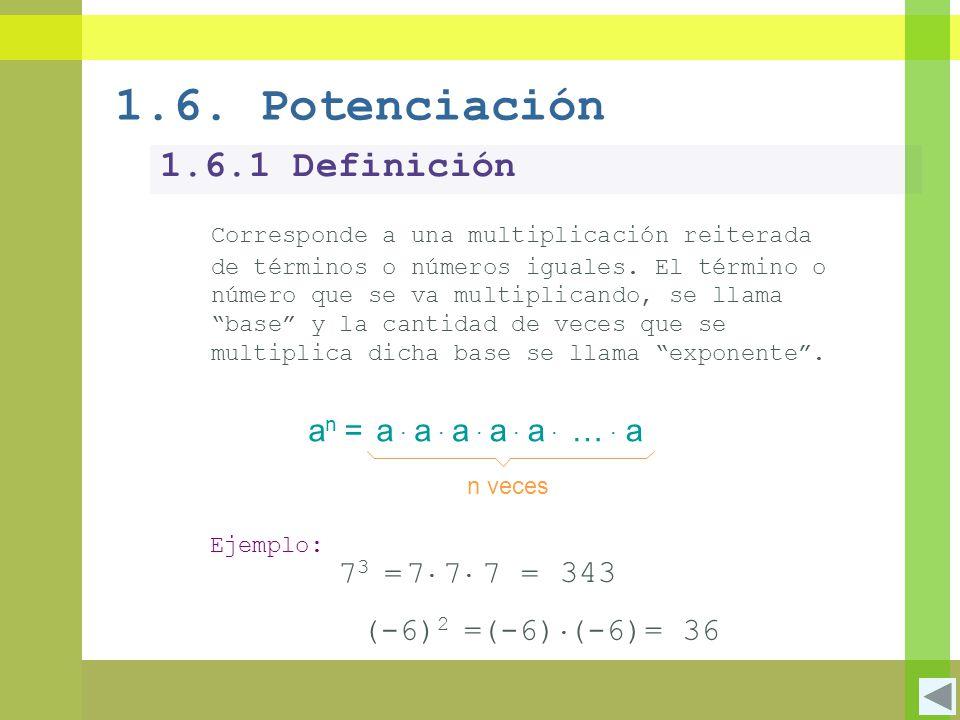 1.6.1 Definición Corresponde a una multiplicación reiterada de términos o números iguales. El término o número que se va multiplicando, se llama base