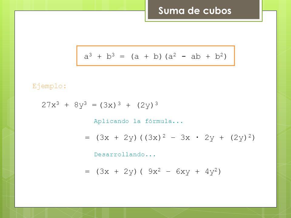 Suma de cubos Ejemplo: Aplicando la fórmula...Desarrollando...