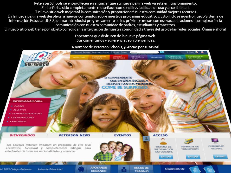 Peterson Schools se enorgullecen en anunciar que su nueva página web ya está en funcionamiento.