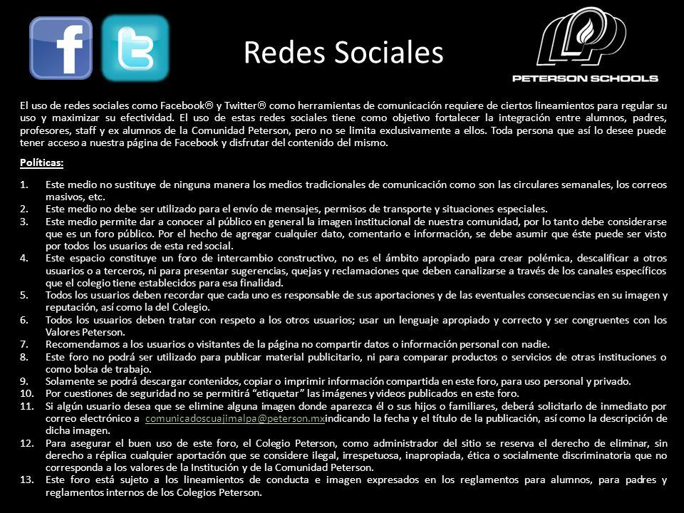 Redes Sociales El uso de redes sociales como Facebook y Twitter como herramientas de comunicación requiere de ciertos lineamientos para regular su uso y maximizar su efectividad.