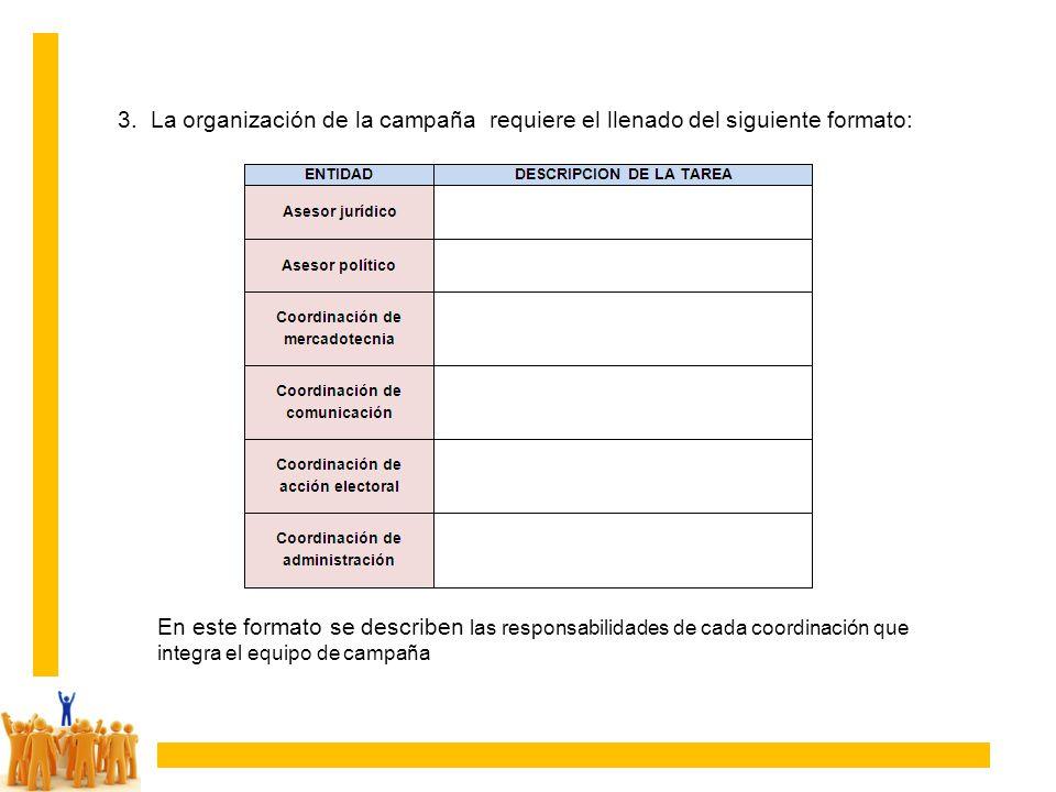 3. La organización de la campaña requiere el llenado del siguiente formato: En este formato se describen las responsabilidades de cada coordinación qu