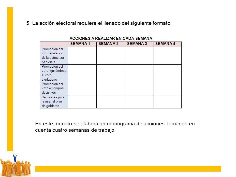 5 La acción electoral requiere el llenado del siguiente formato: En este formato se elabora un cronograma de acciones tomando en cuenta cuatro semanas