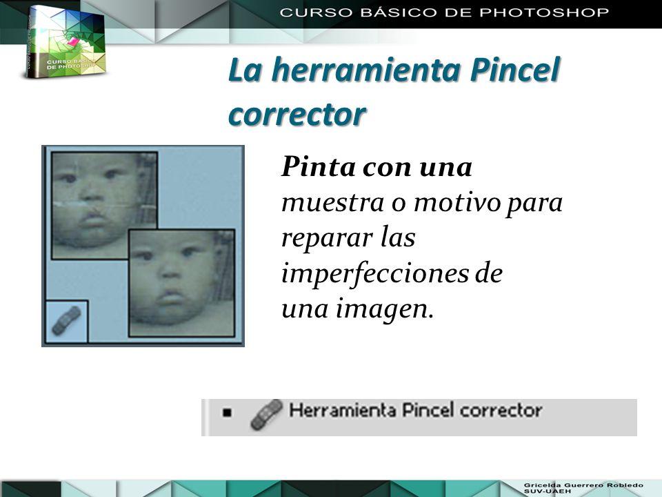 Pinta con una muestra o motivo para reparar las imperfecciones de una imagen. La herramienta Pincel corrector