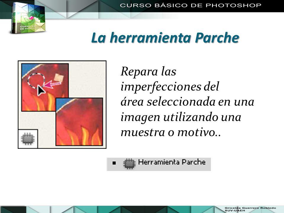 Repara las imperfecciones del área seleccionada en una imagen utilizando una muestra o motivo.. La herramienta Parche
