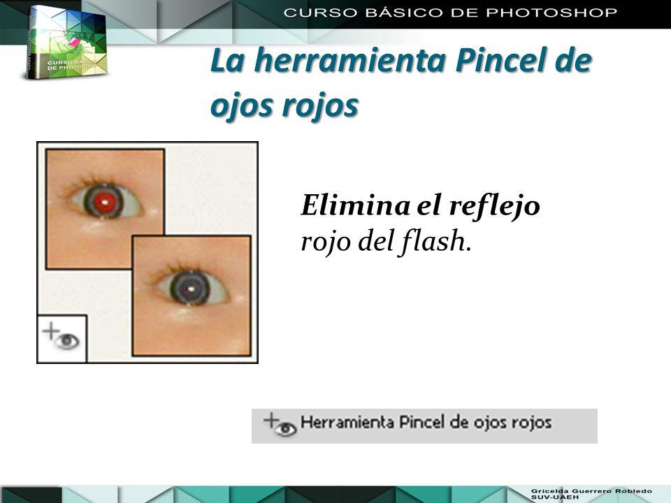 Elimina el reflejo rojo del flash. La herramienta Pincel de ojos rojos