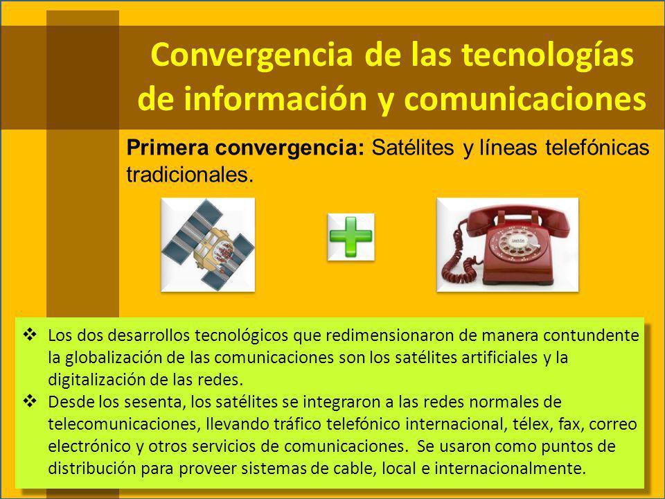 Primera convergencia: Satélites y líneas telefónicas tradicionales.