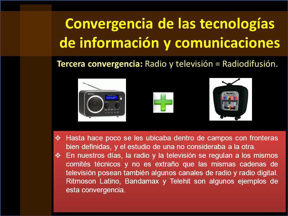 Tercera convergencia: Radio y televisión = Radiodifusión.