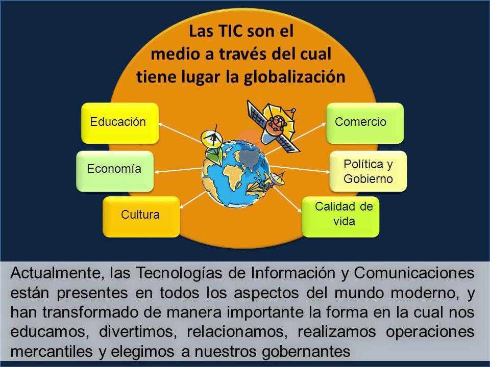 EducaciónComercio Calidad de vida Cultura Economía Política y Gobierno Actualmente, las Tecnologías de Información y Comunicaciones están presentes en todos los aspectos del mundo moderno, y han transformado de manera importante la forma en la cual nos educamos, divertimos, relacionamos, realizamos operaciones mercantiles y elegimos a nuestros gobernantes Las TIC son el medio a través del cual tiene lugar la globalización