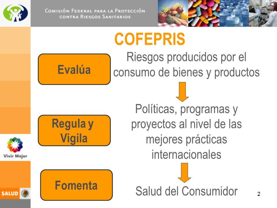 3 Ámbitos de Riesgos Alimentos Insumos para la Salud Establecimientos de Atención Médica Otros Productos y Servicios de Consumo Emergencias Sanitarias Laborales Ambientales