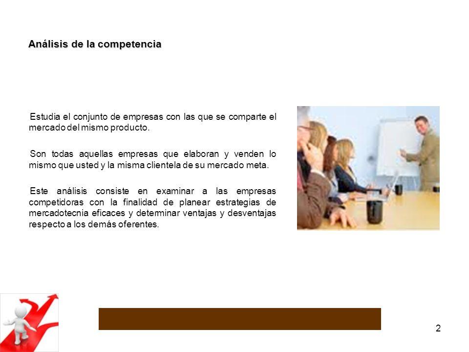 3 Análisis de la competencia La importancia del análisis de la competencia radica en que al contar con determinada información de los competidores, es posible aprovechar sus puntos débiles y tomar como referencia las estrategias que mejores resultados les estén dando.
