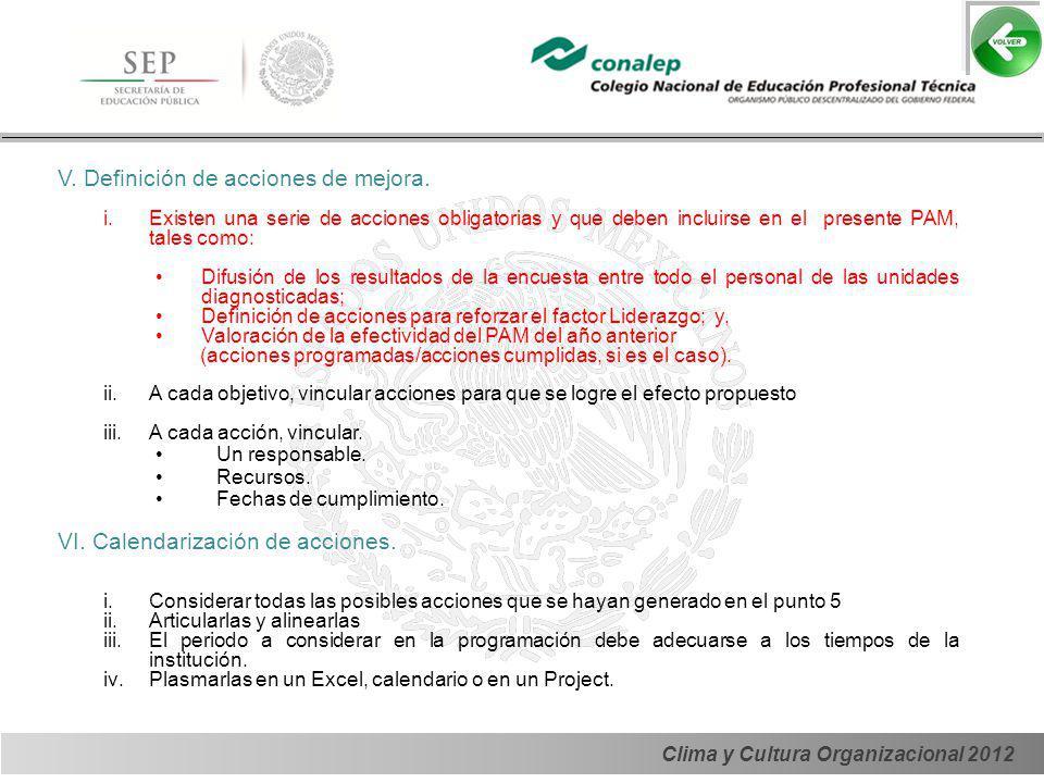 Clima y Cultura Organizacional 2012 V. Definición de acciones de mejora. i.Existen una serie de acciones obligatorias y que deben incluirse en el pres