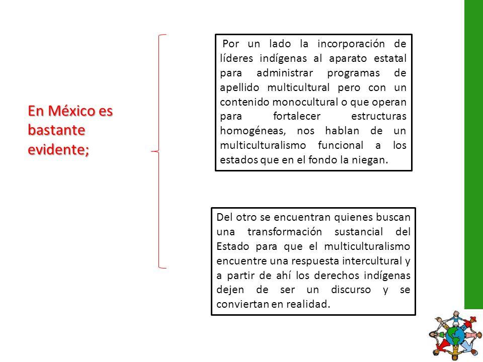 En México es bastante evidente; Por un lado la incorporación de líderes indígenas al aparato estatal para administrar programas de apellido multicultu