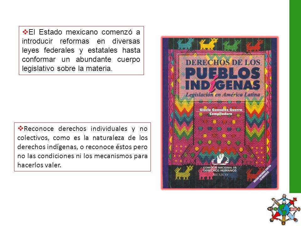 El Estado mexicano comenzó a introducir reformas en diversas leyes federales y estatales hasta conformar un abundante cuerpo legislativo sobre la mate