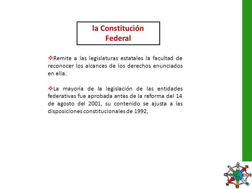 la Constitución Federal Remite a las legislaturas estatales la facultad de reconocer los alcances de los derechos enunciados en ella. La mayoría de la