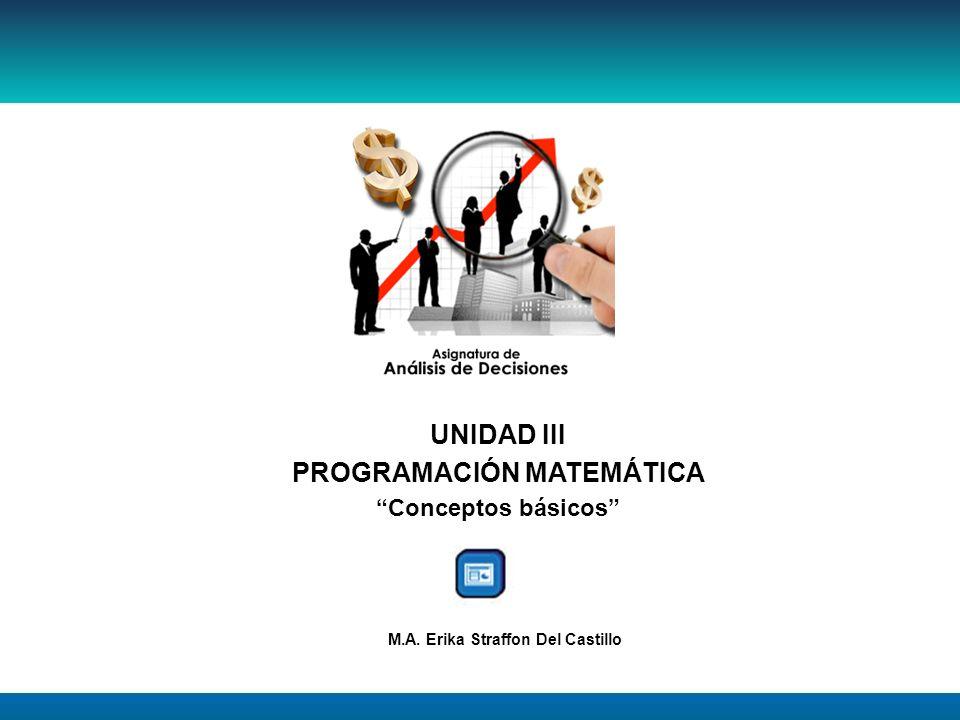 UNIDAD III PROGRAMACIÓN MATEMÁTICA Conceptos básicos M.A. Erika Straffon Del Castillo