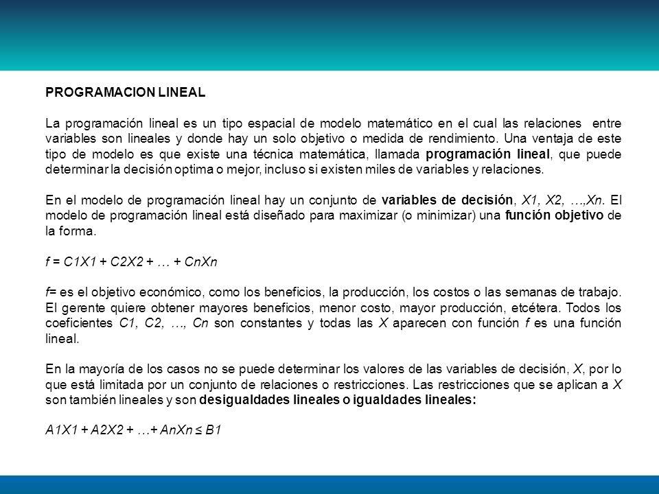 PROGRAMACION LINEAL La programación lineal es un tipo espacial de modelo matemático en el cual las relaciones entre variables son lineales y donde hay