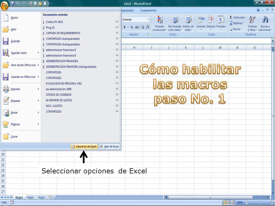 Seleccionar opciones de Excel