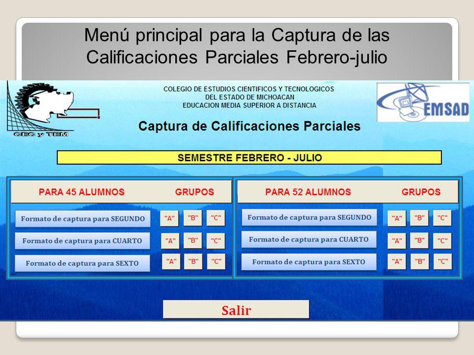 Seleccionar de acuerdo a la matrícula formatos de captura para 45 o 52 alumnos.