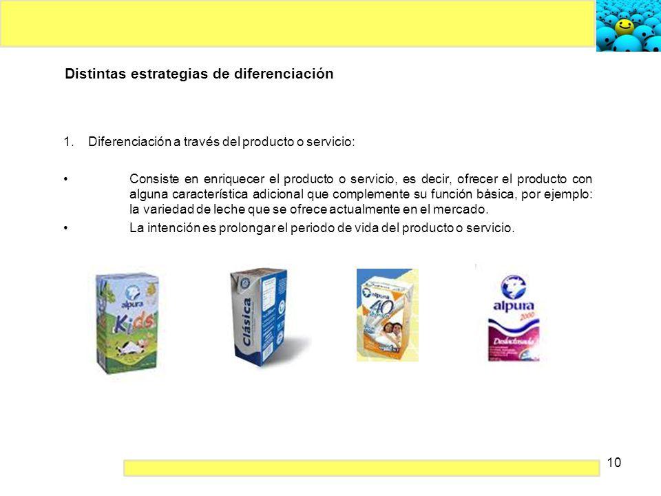 10 Distintas estrategias de diferenciación 1.Diferenciación a través del producto o servicio: Consiste en enriquecer el producto o servicio, es decir,