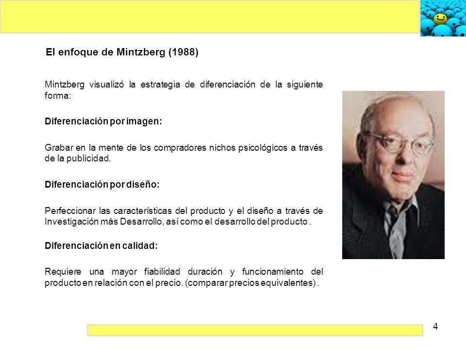 4 El enfoque de Mintzberg (1988) Mintzberg visualizó la estrategia de diferenciación de la siguiente forma: Diferenciación por imagen: Grabar en la me