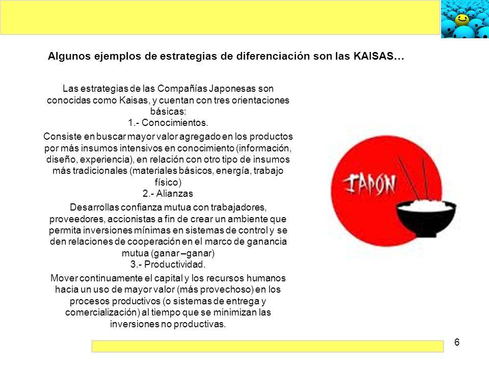 6 Algunos ejemplos de estrategias de diferenciación son las KAISAS… Las estrategias de las Compañías Japonesas son conocidas como Kaisas, y cuentan co