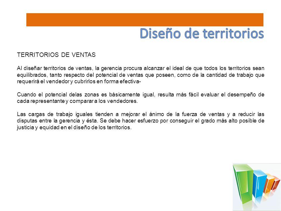 TERRITORIOS DE VENTAS Al diseñar territorios de ventas, la gerencia procura alcanzar el ideal de que todos los territorios sean equilibrados, tanto re