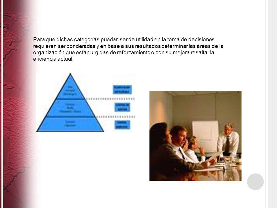 Para que dichas categorías puedan ser de utilidad en la toma de decisiones requieren ser ponderadas y en base a sus resultados determinar las áreas de