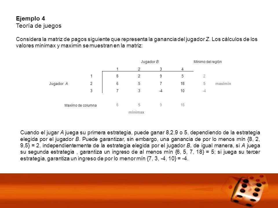 Ejemplo 4 Teoría de juegos Considera la matriz de pagos siguiente que representa la ganancia del jugador Z.