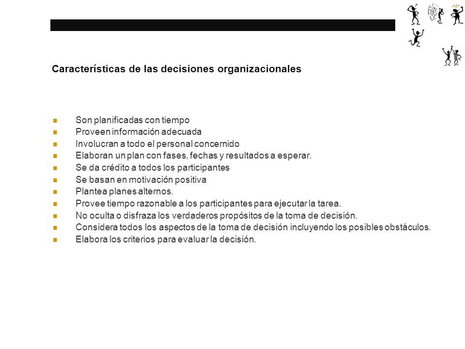 Características de las decisiones organizacionales Son planificadas con tiempo Proveen información adecuada Involucran a todo el personal concernido Elaboran un plan con fases, fechas y resultados a esperar.