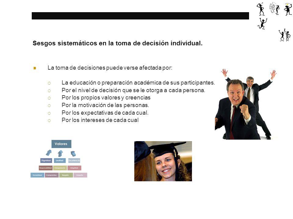 Sesgos sistemáticos en la toma de decisión individual.