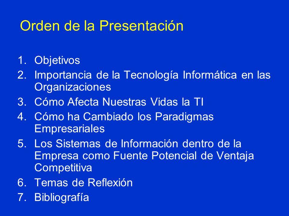 Orden de la Presentación 1.Objetivos 2.Importancia de la Tecnología Informática en las Organizaciones 3.Cómo Afecta Nuestras Vidas la TI 4.Cómo ha Cam