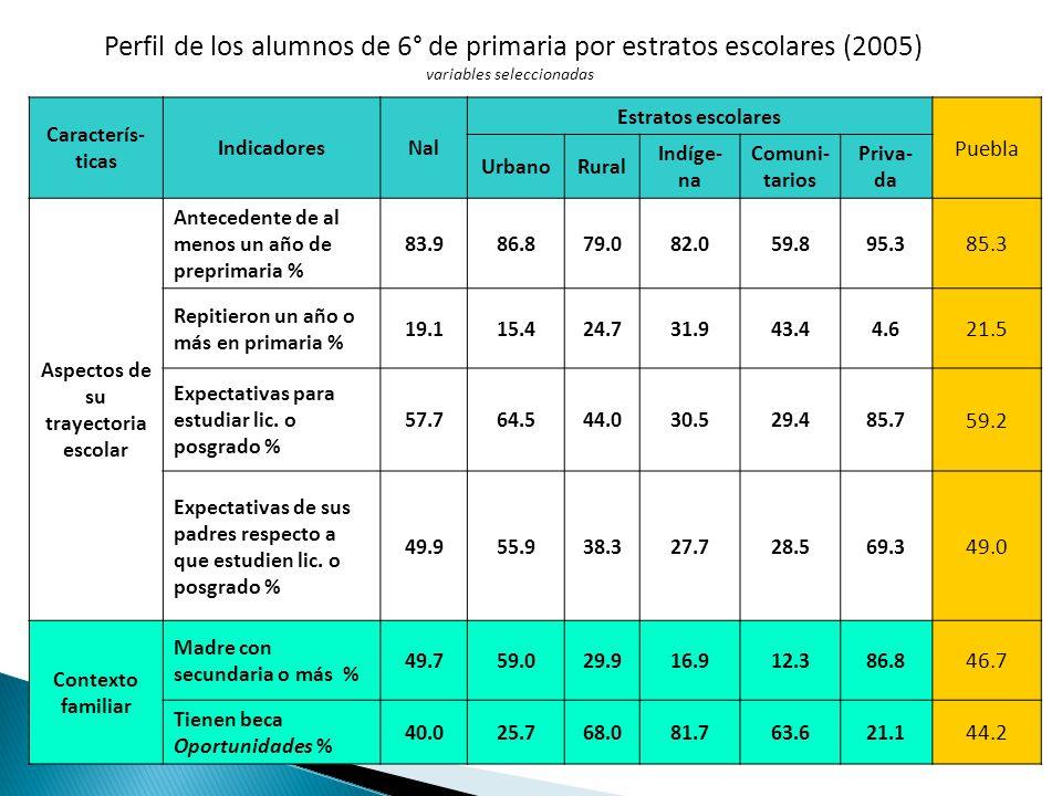 Perfil de los alumnos de 6° de primaria por estratos escolares (2005) variables seleccionadas Caracterís- ticas IndicadoresNal Estratos escolares Puebla UrbanoRural Indíge- na Comuni- tarios Priva- da Aspectos de su trayectoria escolar Antecedente de al menos un año de preprimaria % 83.986.879.082.059.895.3 85.3 Repitieron un año o más en primaria % 19.115.424.731.943.44.6 21.5 Expectativas para estudiar lic.