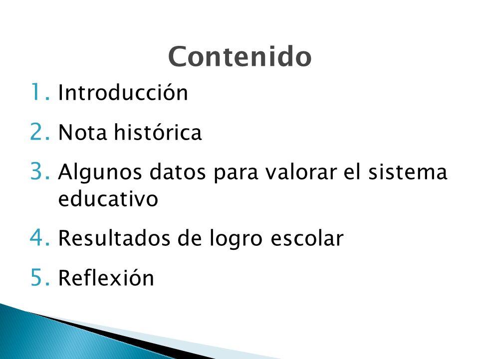 Contenido 1.Introducción 2. Nota histórica 3. Algunos datos para valorar el sistema educativo 4.