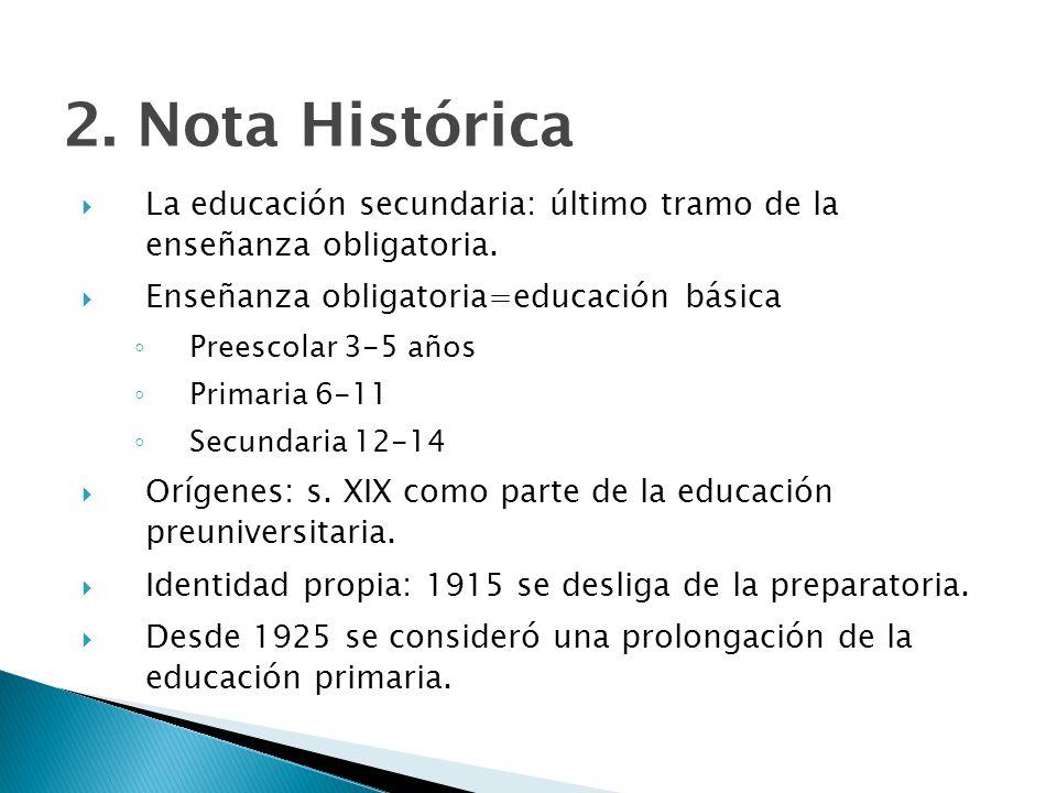 2.Nota Histórica La educación secundaria: último tramo de la enseñanza obligatoria.