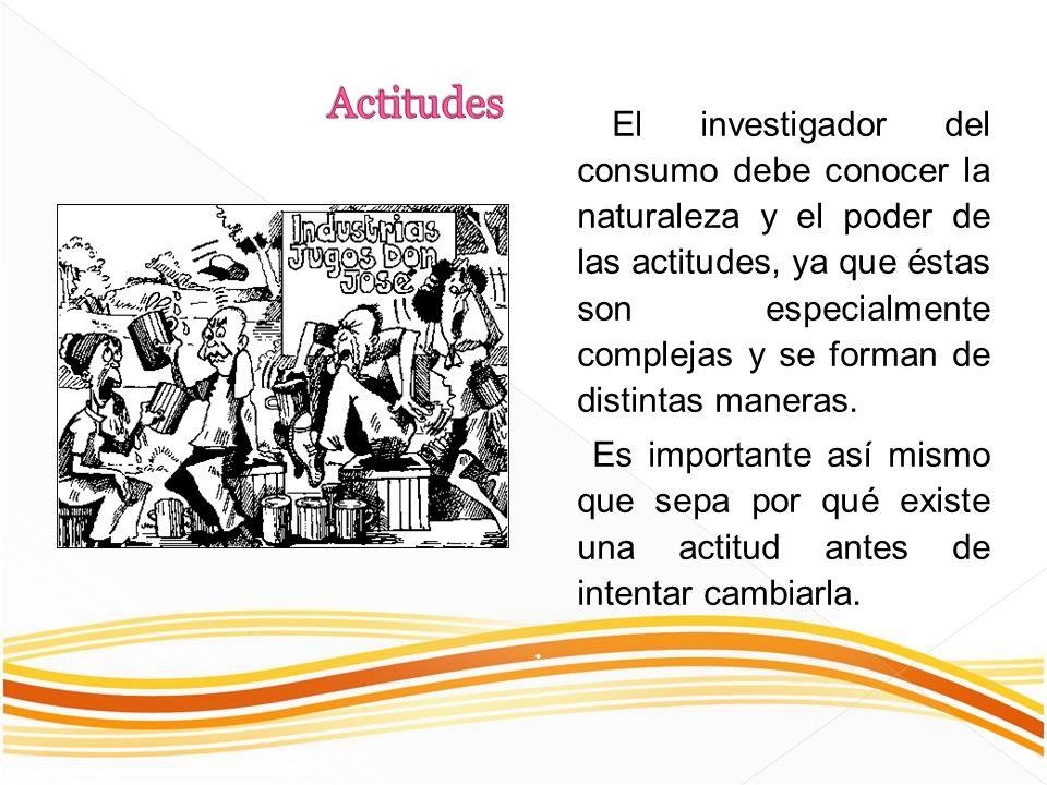El investigador del consumo debe conocer la naturaleza y el poder de las actitudes, ya que éstas son especialmente complejas y se forman de distintas