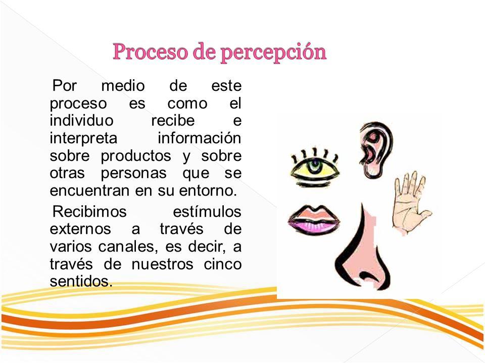 Por medio de este proceso es como el individuo recibe e interpreta información sobre productos y sobre otras personas que se encuentran en su entorno.