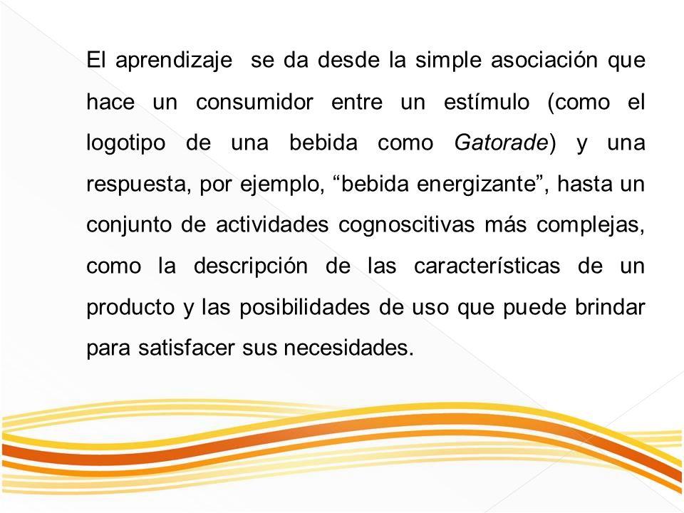 El aprendizaje se da desde la simple asociación que hace un consumidor entre un estímulo (como el logotipo de una bebida como Gatorade) y una respuest