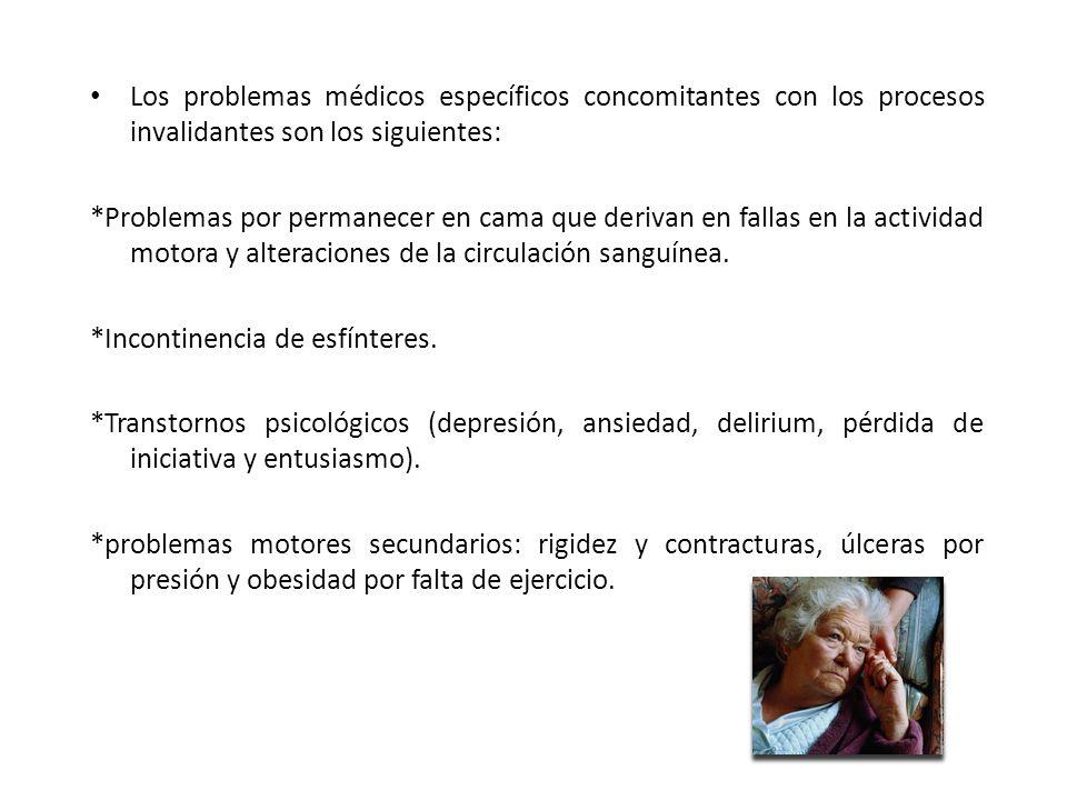 Los problemas médicos específicos concomitantes con los procesos invalidantes son los siguientes: *Problemas por permanecer en cama que derivan en fal